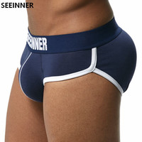 SEEINNER Brand Men Underwear Briefs Bulge Enhancing Gay Penis Pouch Pad Front Back Hip Enhancing Double