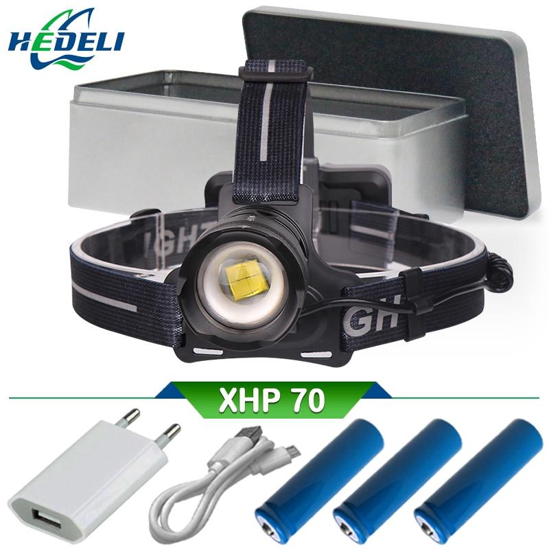 Zoom haute puissance xhp70 led lampe frontale puissante rechargeable a phare led 18650 usb tête lampe torche lanterne