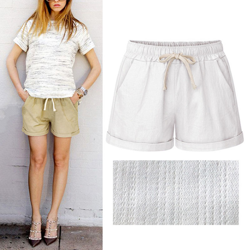 Summer Women Wide Leg Shorts Cotton High Waist Drawstring Pockets Girl Casual Shorts Plus Size M-6XL BS88