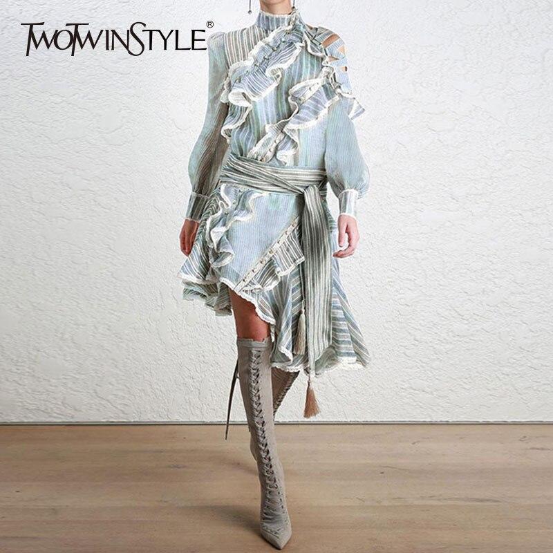 TWOTWINSTYLE Striped Dress Female Ruffles Off Shoulder Lantern Sleeve Belt High Waist Asymmetrical Dresses 2019 Spring Tide New