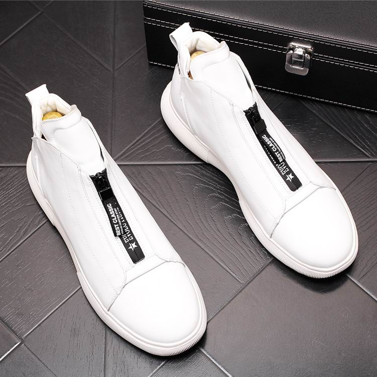 ERRFC Luxury Men's Gold Leisure Shoes Fashion Designer High Top Zip Man Casual Comfort Shoes For Show White Vogue Party Shoes 43 2
