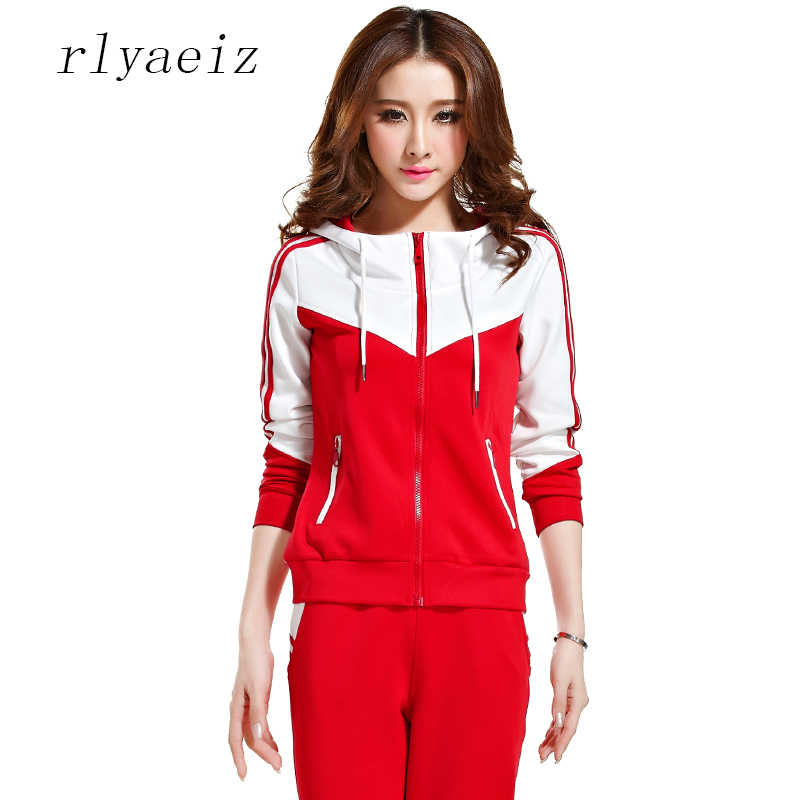 6f936181 RLYAEIZ Plus Size M-5XL 2017 Autumn 2 Piece Set Womens Sporting Suits  Zipper Hoodies