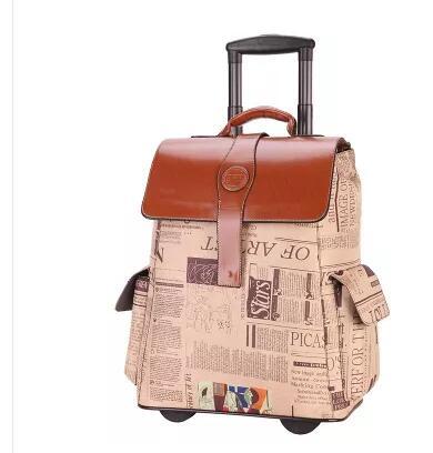 Na kółkach PU torba na kółkach na kółkach toczenia torba na bagaż podróży torba na pokład podróży bagażu kabinowego walizka na torba na bagaż w Torby podróżne od Bagaże i torby na  Grupa 1