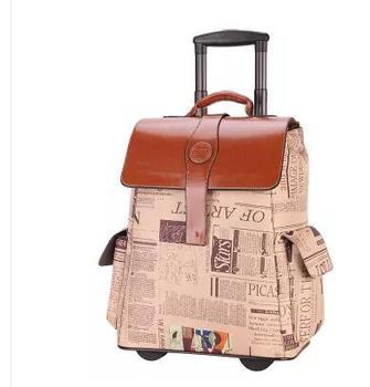 46605d4469fa6 PU arabası çantası tekerlekler ile tekerlekler üzerinde Haddeleme Bagaj  Çantası Seyahat Yatılı çanta seyahat kabin bagaj bavul bagaj üzerinde  taşımak çanta