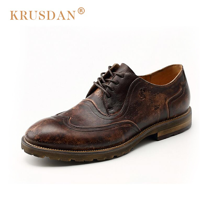 2018 Sale [krusdan]2018 Brand Men Causal Shoes Quality Retro Handmade Genuine Leather Moccasins Bullock Oxfords Flat For Man relikey brand men dress shoes handmade genuine cow leather top quality brogue shoes lace up new big size bullock style shoes men
