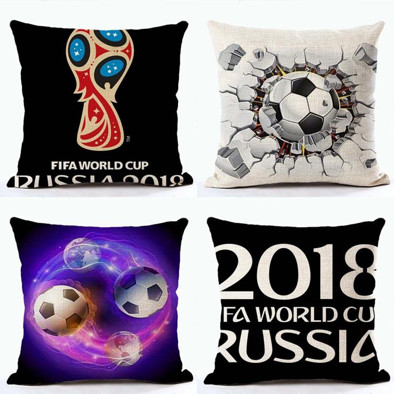 2018 Football World Decorative Cotton Linen Cushion Cover Football Printed Sofa Throw Pillow Russia Chair Home Decor Wholesale