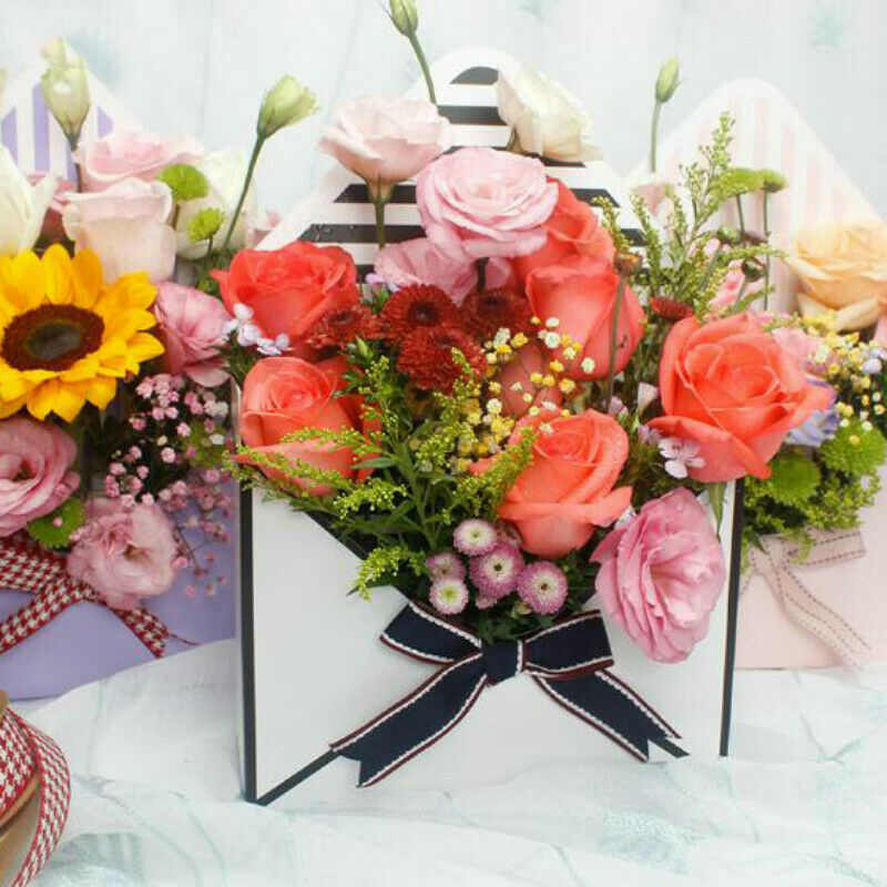6 Style Romantic Envelope Flower Bouquet Florist Pack Supply Gift Bags Paper Holder Box for Valentine's Day Gift Birthday Party