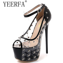 YEERFA punk gothic rock rivets studded ankle strap sandals pvc clear crystal transparent ultra very high heel fetish shoes