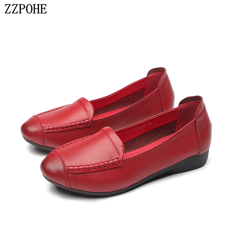 ZZPOHE Woman Genuine Leather Flat Shoes Spring Autumn Fashion Female Soft Casual Women Flats Woman Flat Work Shoes Mother Shoes