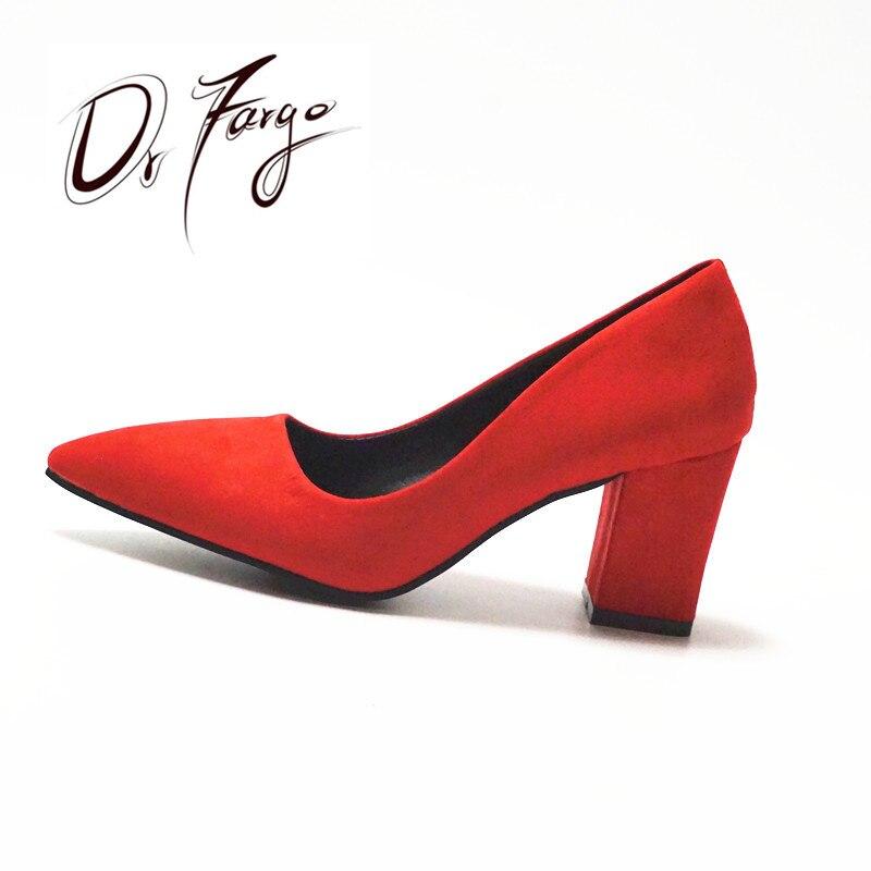 DRFARGO női 7,5 cm-es blokk sarok szexi hegyes toe nő szivattyúk nyári tavaszi EUR 34 -39 Ingyenes szállítás Esküvői RED Mulher Zapato