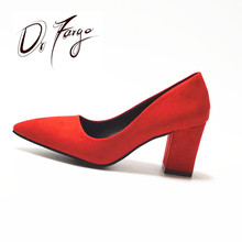 DRFARGO Women's 7.5 cm Block Heel Sexy Pointed Toe Woman Pumps Summer Spring EUR 34 -39 Free shipping Wedding RED Mulher Zapato