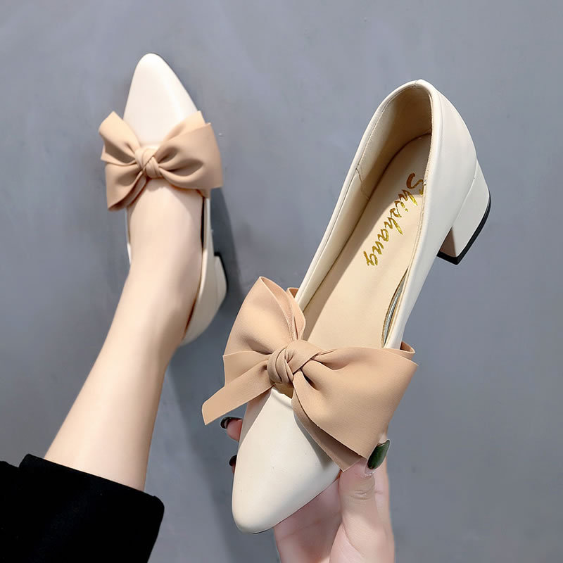 Classic Women Shoes Spring Autumn Female Pumps Pointed Toe Bowknot Mature Ladies Footwear Shallow Retro Office Sandals Newest in Women 39 s Pumps from Shoes