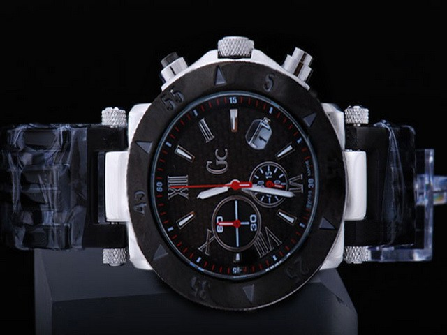 New GC Japanese Quartz Working Chronograph  Black Carbon Fibre Style Dial Solid 316 Stainless Steel  Watch