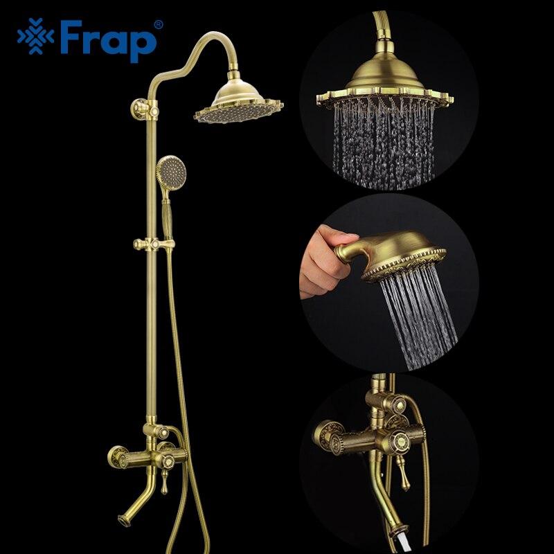 FRAP shower faucet bronze antique style bathroom mixer rainfall set waterfall bath system tapware