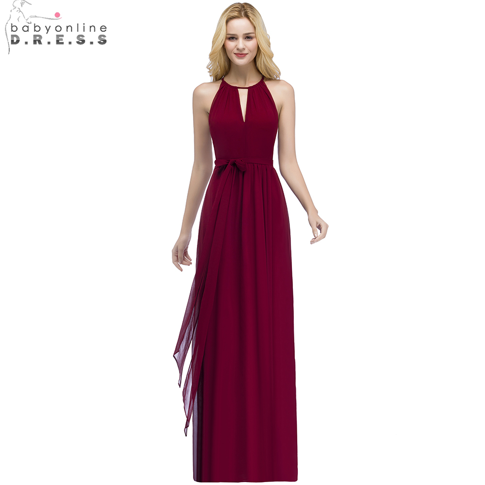 Babyonline Chiffon Long   Bridesmaid     Dresses   2019 Sleeveless Burgundy Wedding Party   Dresses   robe demoiselle d'honneur