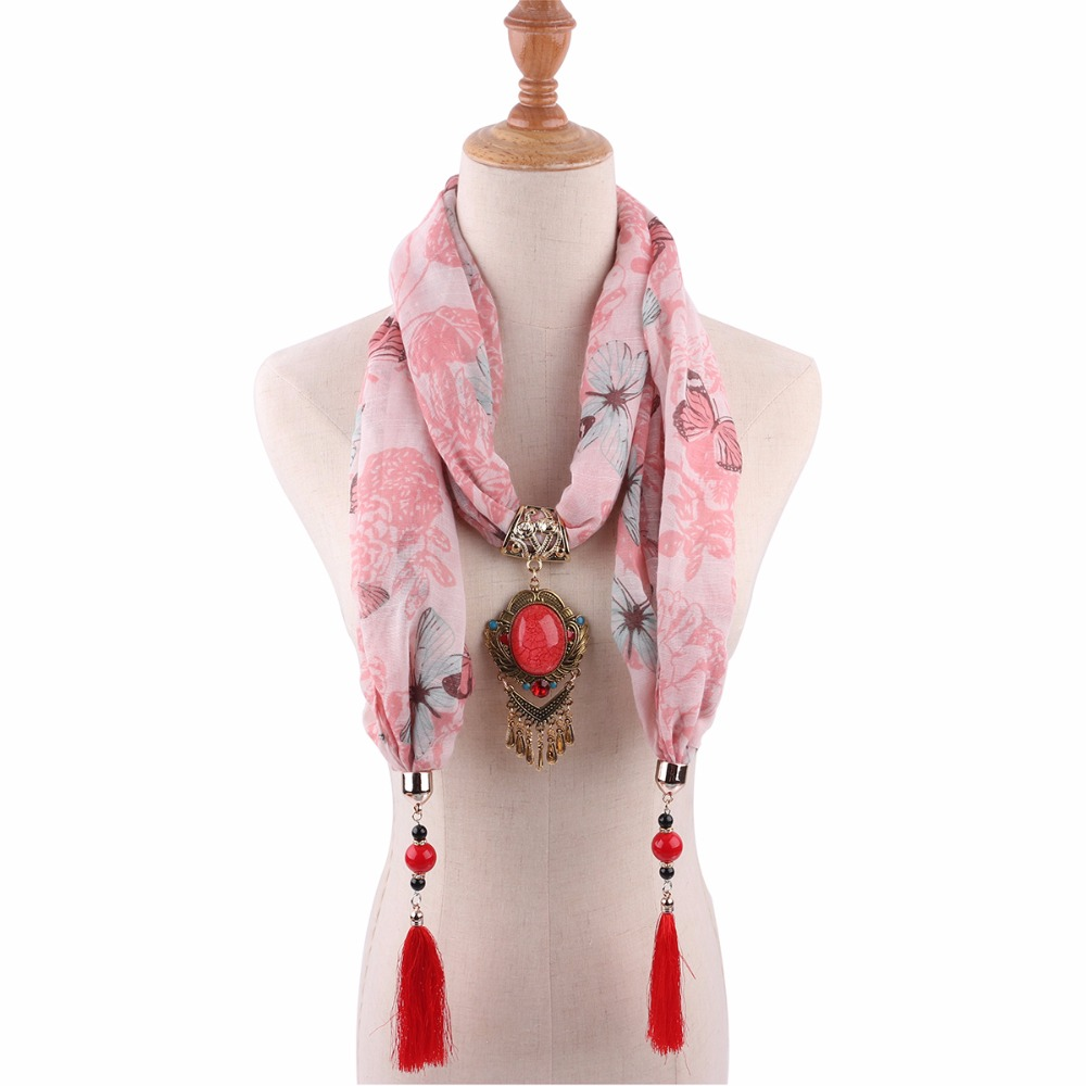 pendant scarfs mujer summer jewelry pendant shawls necklace fashion boho printed butterfly apparel accessories cotton scarfs in Women 39 s Scarves from Apparel Accessories