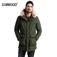 Simwood новая зима 90% Пуховики на белом утином пуху Для мужчин Обувь на теплом меху капюшон съемный парка модная Толстая куртка YR1003