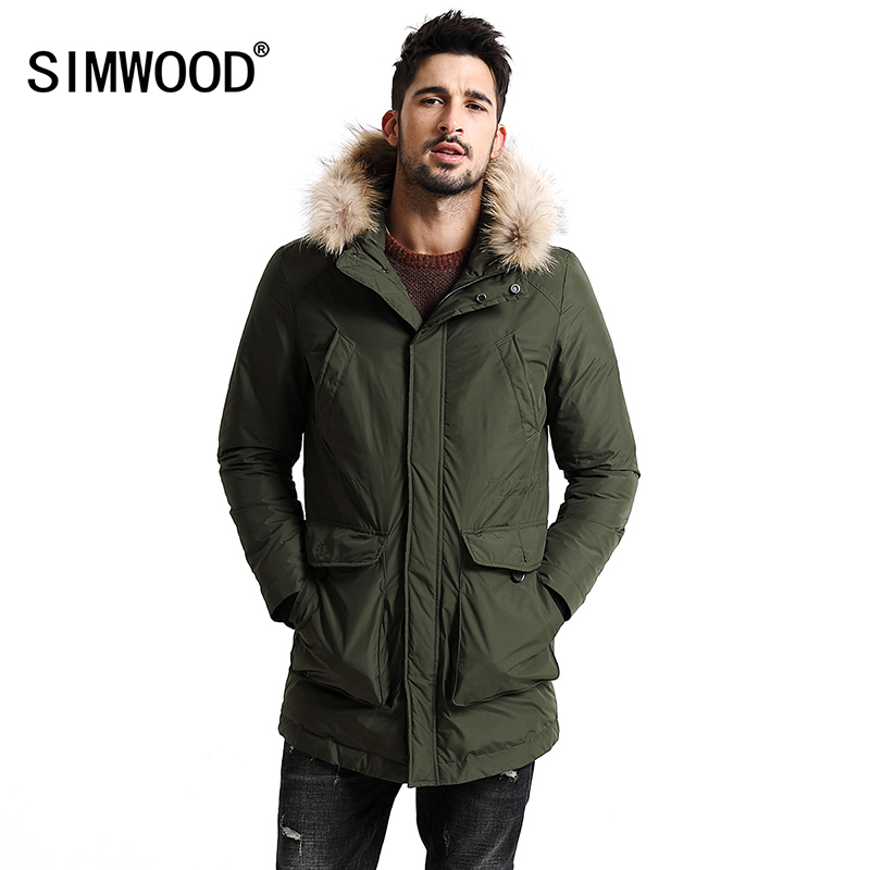 SIMWOOD New Winter 90% White Duck Down Coats Men Warm Fur Hood Removable Parka Fashion Thicken 2018 Long Duck Jacket YR1003
