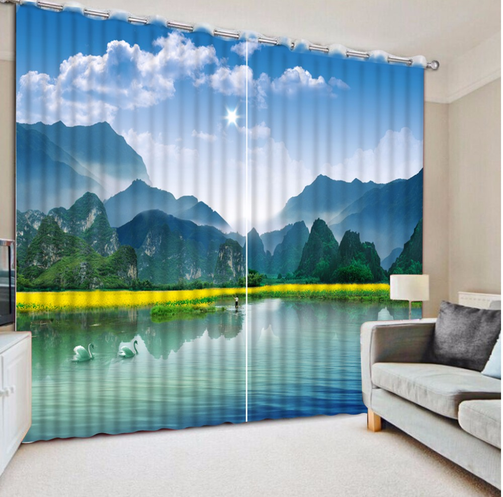 Beautiful Hd Landscape Curtains For Bedroom Blackout 3d