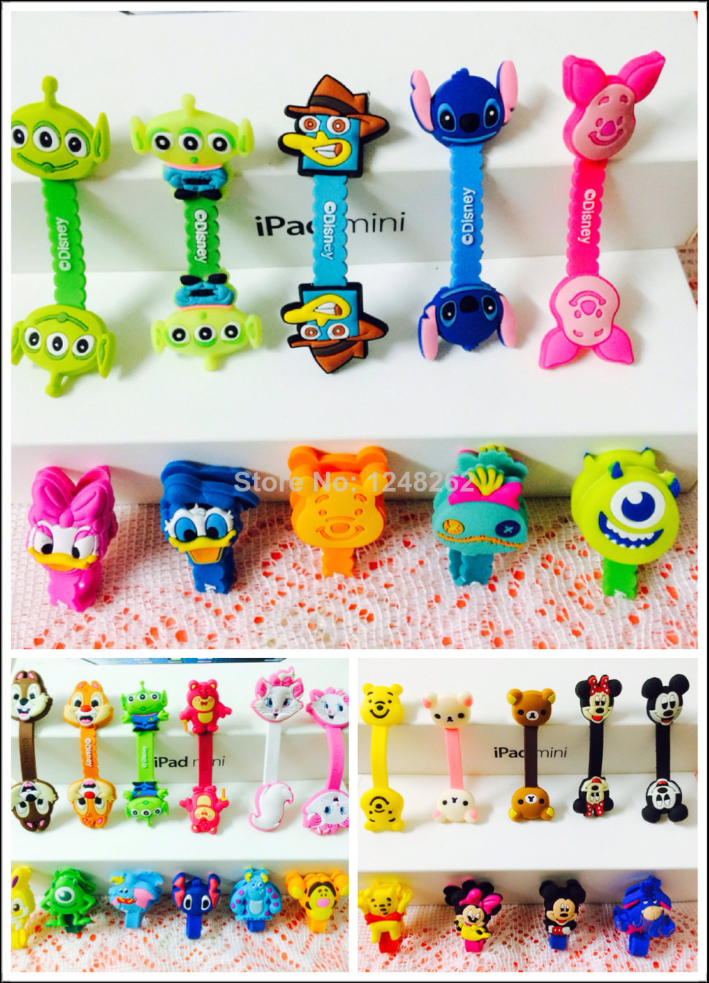 Creative Silicone long strip Cartoon Earphone Wire Cord Cable Winder Organizer