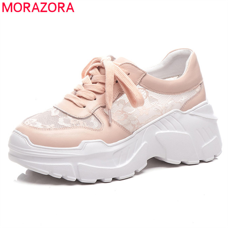 MORAZORA 2019 newest genuine leather air mesh summer shoes round toe flat platform shoes ladies comfortable