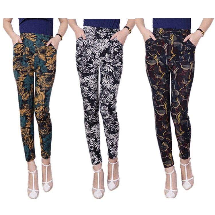 4XL Plus Size Women Velvet Leggings for Mom Winter Fleecy Flora Print Warm Elastic Pants Female Printed Leggings Trousers