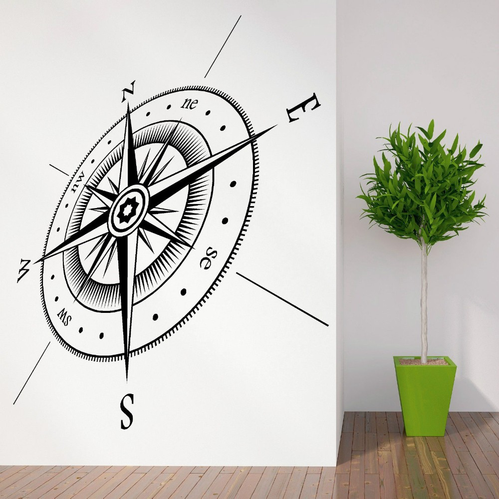 Free Shipping Newest Compass All Directions Points Vinyl Wall Sticker Art Design Fashion Style 3D Home Room Decor Wall Decals