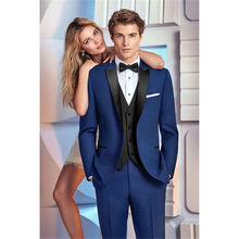 Latest Coat Pant Designs royal Blue Men Wedding Suits Groomsmen costume homme Slim Fit Tuxedo Custom mens Suit Blazer Masculino(China)