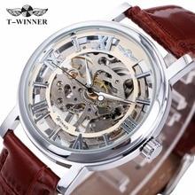 GANADOR NUEVO reloj Mujeres de Los Hombres Correa de Cuero Relojes Mecánicos Esqueleto Semi-Automático Reloj + CAJA de REGALO del Amante Relojes de Pulsera de Lujo Superior