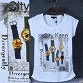 Женщины Топы мода 2015 5 часы печати и алмазов установлены футболки женщин Оригинальный Досуг Дамы Топы рубашки поло