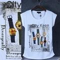 Mulheres Tops moda 2015 5 relógios de impressão e diamante-montado T shirts mulheres Originais Lazer Ladies Tops camisa pólo