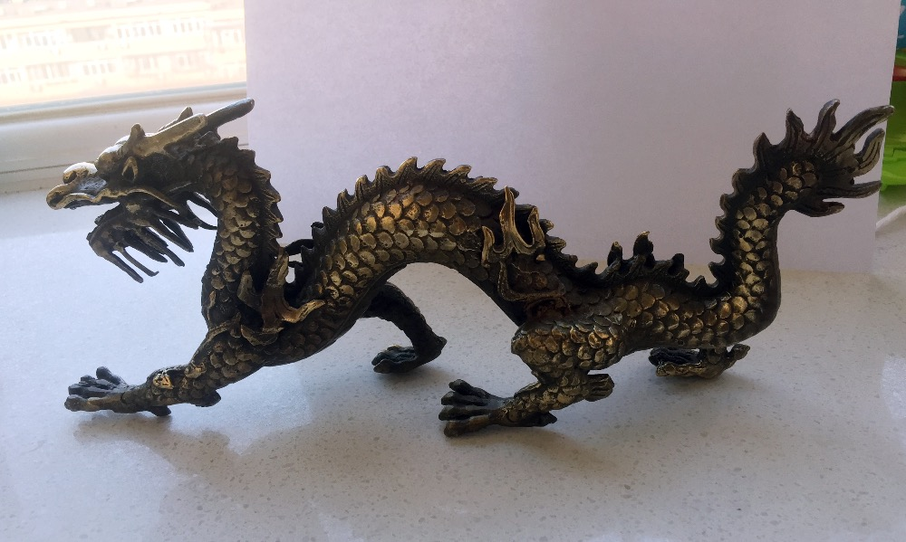 Long 11 inch Metal crafts  Decoration Chinese Brass Carved Dragon Statue/Chinese dragon Sculpture Free shipping|sculpture statue|statue sculpture|sculpture carved - title=