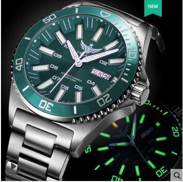 טריטיום שעון T100 Yelang גברים אוטומטי עמיד למים 300m יפן תנועה עליונה 24 תכשיטים לסובב חיוג תאריך יום לשחות צולל שעון