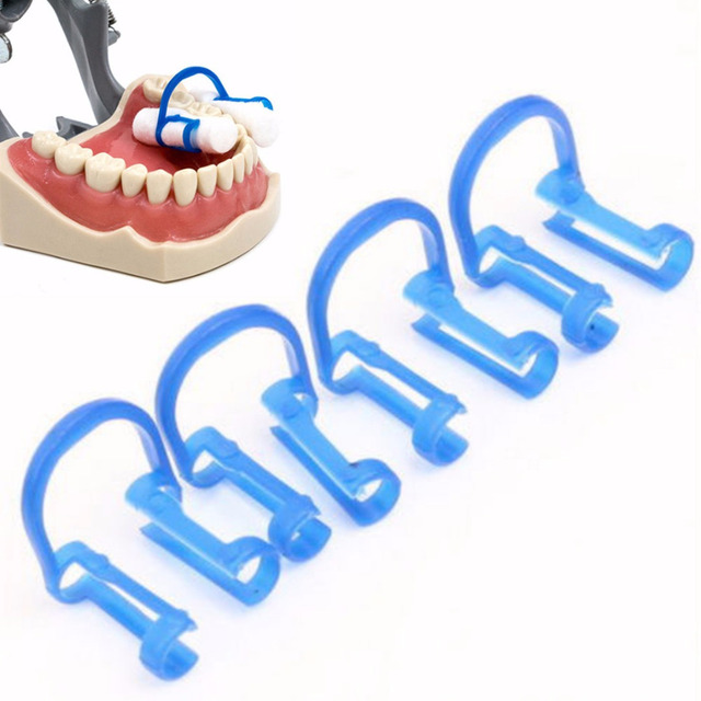 20pcs New Plastic Cotton Roll Holder Disposable Blue Clip For Dental/Dentist Clinic