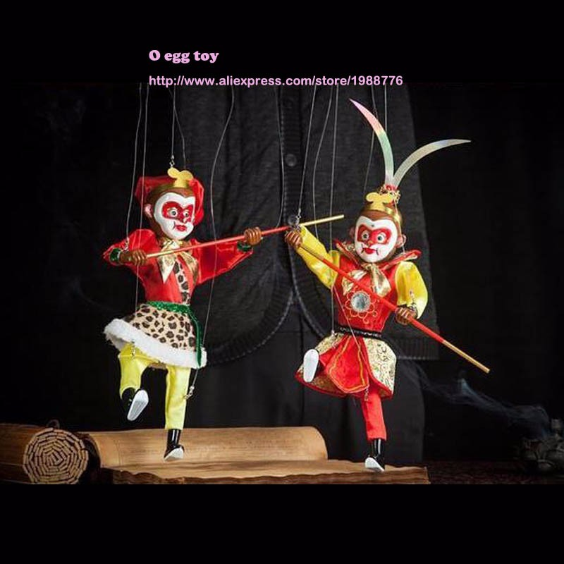 US $16 92 28% OFF Marionette Sun wukong Animal muppet hand puppets toys  wool rope doll Monkey King marionette a doigts puppet marionette toys-in