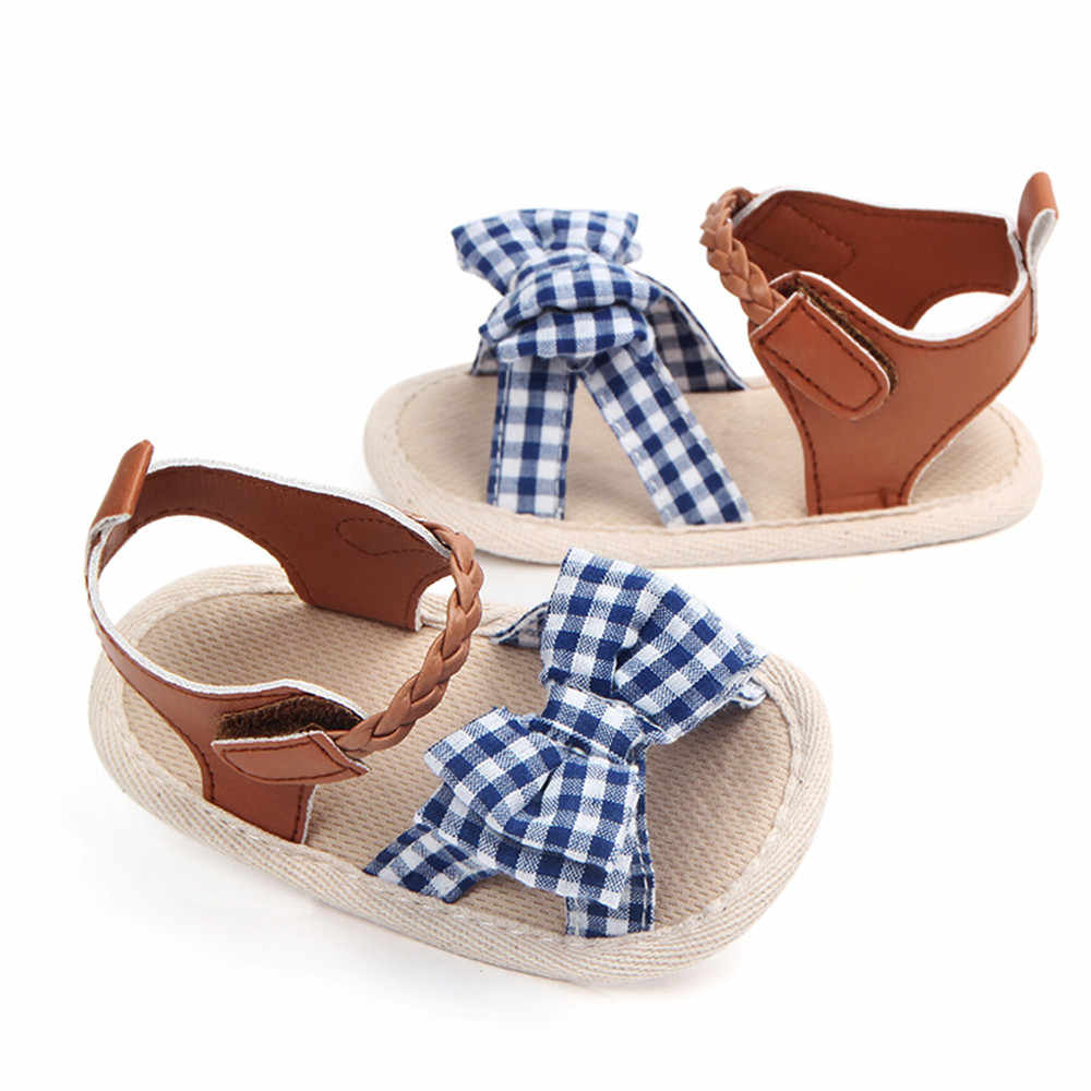Yay ekose yumuşak örgü beşik kaymaz bebek kız yaz ayakkabı kaymaz tek sandalet 2020 çocuk moda kanca döngü ayakkabı # YL1