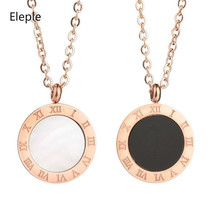 Eleple Popular Rose Gold Roman Number Stainless Steel Necklaces for Womem Accessories Clavicle Chain Necklace Jewelry S-N274