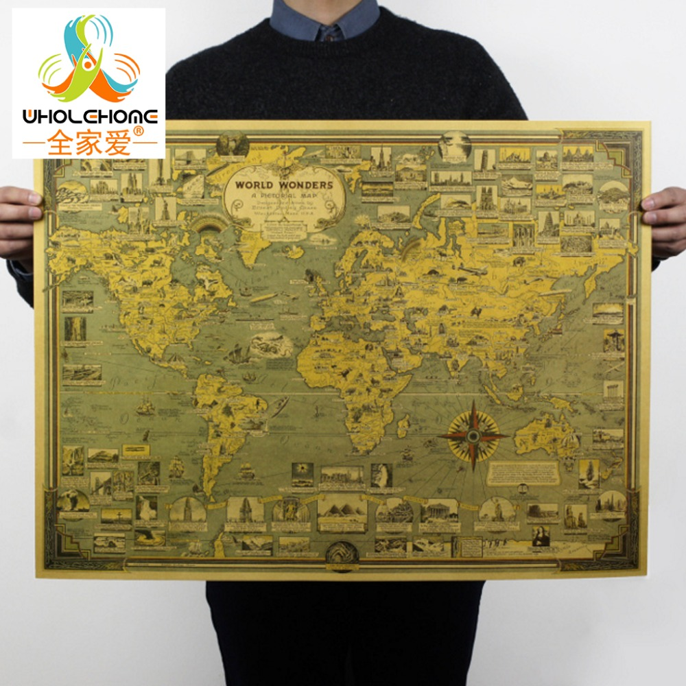 3Style Large Retro World Map Kraft Paper Paint Vintage Wall Sticker Poster Living Room Art Crafts Maps Bar Cafe Pub Home Decor