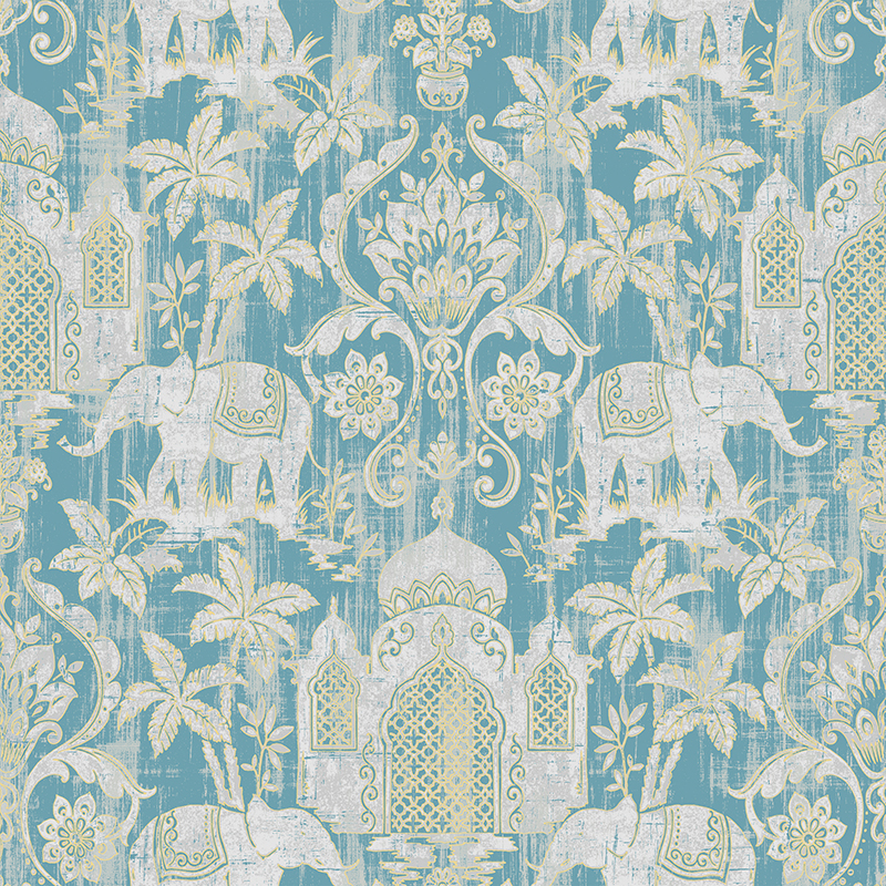 Temple Taj Mahal Elephant Palm Trees Tropical Wallpaper Metallic Shimmer Southeast Asia Thai Style Background Wall Paper