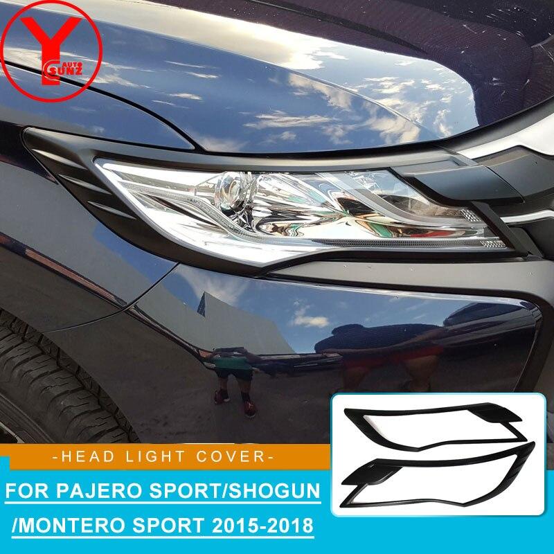 Mitsubishi Pajero Montero Sport Head Lamp Light Cover Chrome fit 2015 2016 2017
