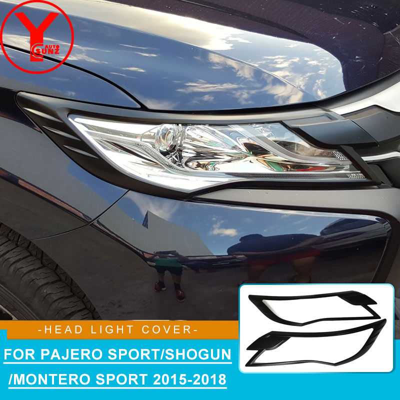 Черная крышка головного света для MITSUBISHI PAJERO SPORT Shogun 2015 2016 2017 Автомобильные фары аксессуары для montero sport 2018 YCSUNZ