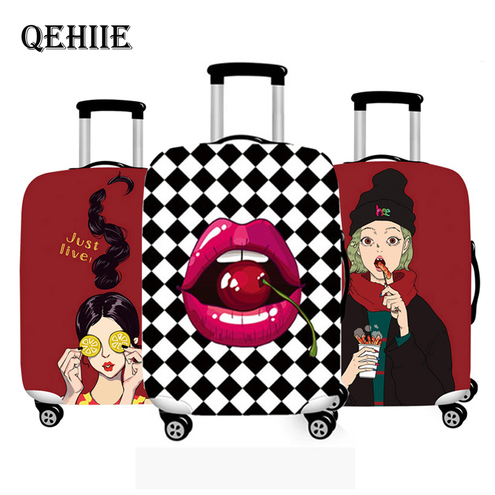 Luggage Cover Travel Accessories Suitcase Cover Suit 18-32 Inch Cartoon Girl Prints Case For Suitcase High Elastic Luggage Cover