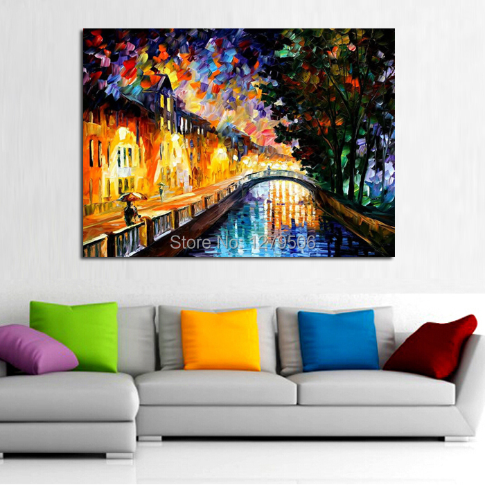 Big size 100% Handpainted Abstract Knife Bridge River Oil Painting On Canvas landscape Oil Painting For Home Decor As Best Gift ...