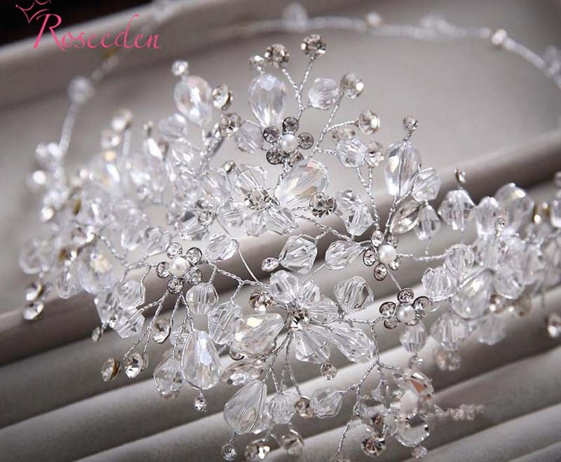 100% handmade crystal beads bridal wedding hair ornaments women Gorgeous rhinestone party wedding accessories new design RE615 6