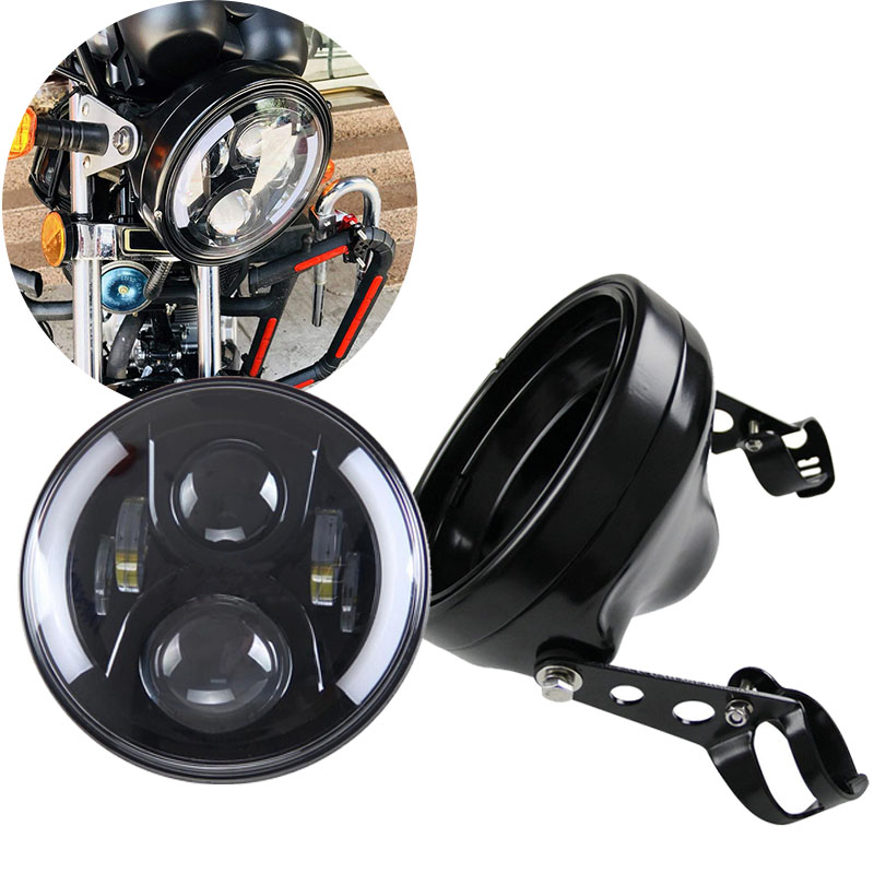 Motorcycle Accessories 7 Inch Headlamp Housing Bracket Trim Ring 7   50W H4 High Low LED Light Bulb Headlight For Harley