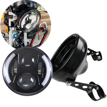 Motorcycle Accessories 7 inch led headlamp Housing Bracket Trim Ring 50W H4 High/Low LED light Bulb headlight for Harley