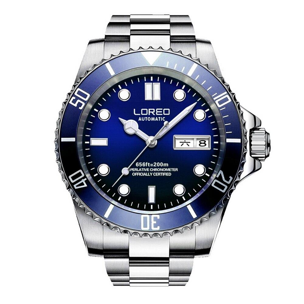 LOREO hommes Sport lumineux rotatif lunette 200 M étanche automatique mécanique montres reloj hombre-double calendrier acier