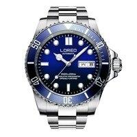 LOREO Mens Sport Luminous Rotatable Bezel 200M Waterproof Automatic Mechanical Wrist Watches reloj hombre Dual Calendar Steel