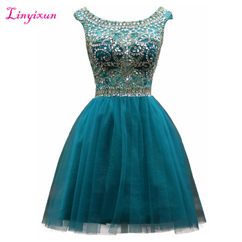 Linyixun Real Photo Crystals Beading Homecoming Dresses Cap Sleeves Scoop Neck Tulle Short Prom Dresses Luxury Cocktail Dresses