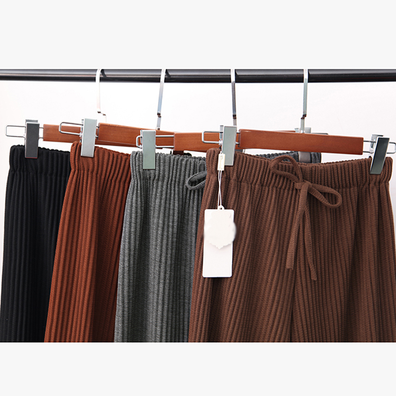 2018 Spring Women Pants New Korean Women's High-waist Pants Thread Wide Leg Pants Loose Thin Knit Women Trousers 2